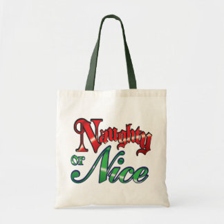 Retro Christmas, Naughty or Nice Red Green Letters Tote Bag