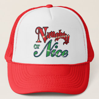 Retro Christmas, Naughty or Nice Red Green Letters Trucker Hat