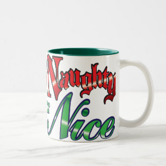 Retro Christmas, Naughty or Nice Red Green Letters Two-Tone Coffee Mug