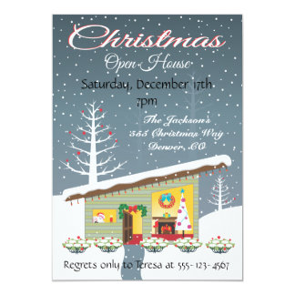 Retro Christmas Open House Invitations