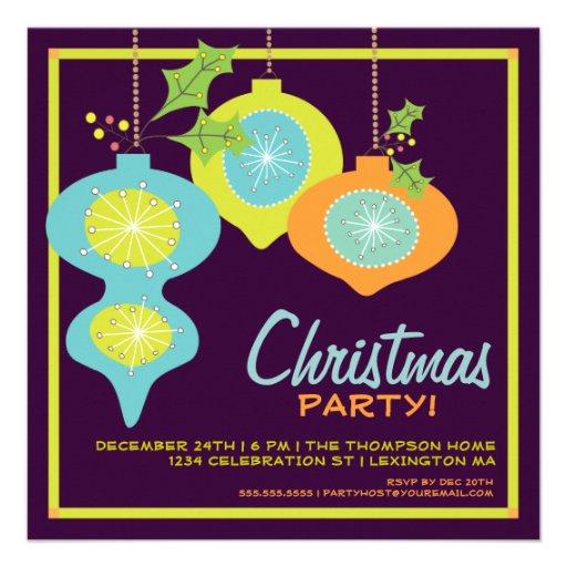 Retro Christmas Party Invitations: Retro Christmas Ornaments Holiday Party Invitation