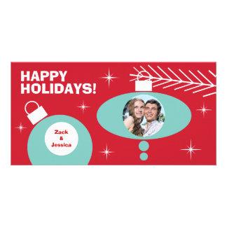 Retro Christmas Ornaments Holiday Photo Card Photo Card Template
