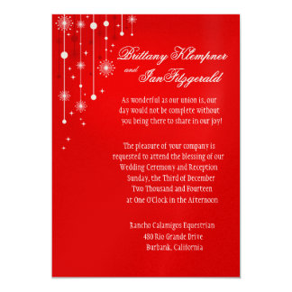 Retro Christmas Ornaments Wedding metallic red Card