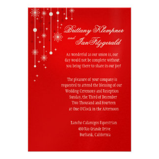 Retro Christmas Ornaments Wedding metallic red Announcement