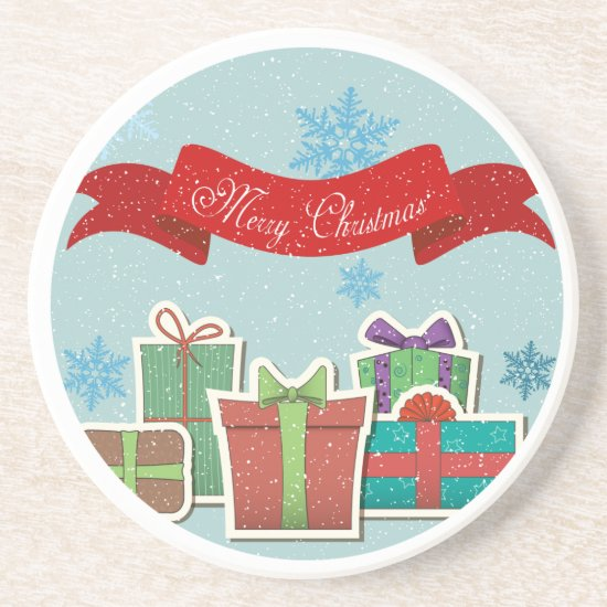 Retro Christmas Packages Design Holiday Coasters