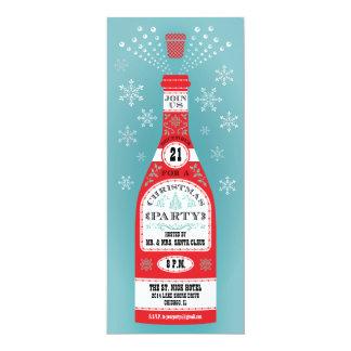 Retro Christmas Party Champagne Bottle Invitation