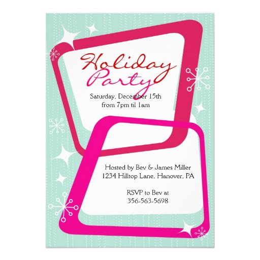 "Retro Christmas Party Invitations: Retro Christmas Party Invitations 5"" X 7"" Invitation Card"