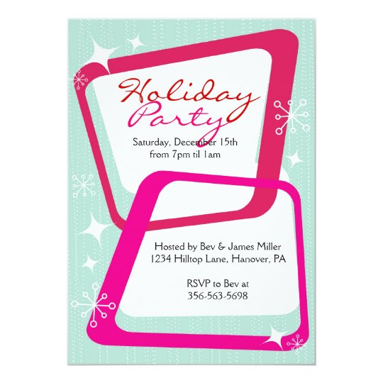 Retro Christmas Party Invitations