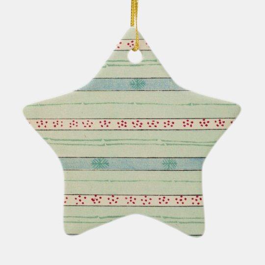 Retro Christmas Pattern Ceramic Ornament