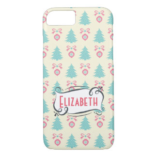 Retro Christmas Pattern with Trees Baubles & Bows iPhone 8/7 Case