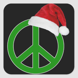 Retro Christmas Peace Sign Square Sticker