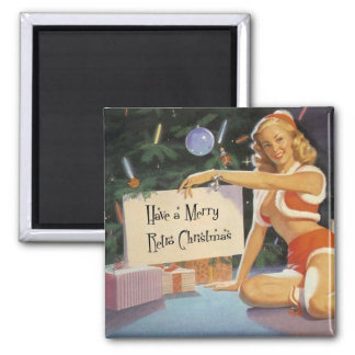Retro Christmas Pin Up 2 Inch Square Magnet