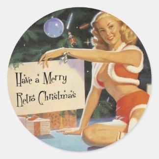 Retro Christmas Pin Up Classic Round Sticker