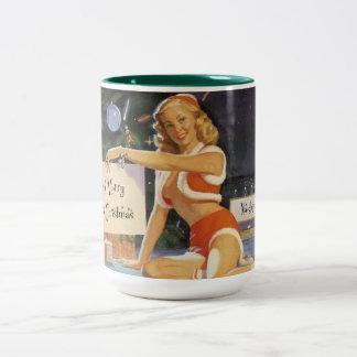 Retro Christmas Pin Up Two-Tone Coffee Mug