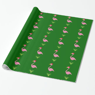 Retro Christmas Pink Lawn Flamingos on Green Wrapping Paper