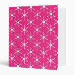 Retro Christmas Pink Snowflakes Pattern Binder
