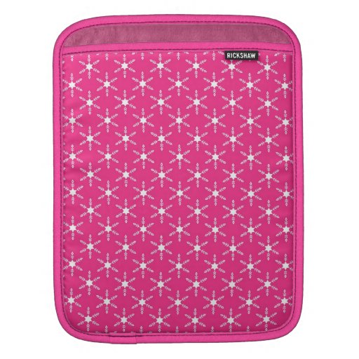 Retro Christmas Pink Snowflakes Pattern Sleeves For iPads