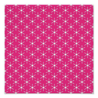 Retro Christmas Pink Snowflakes Pattern Posters