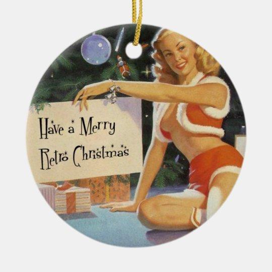 Retro Christmas Pinup Ceramic Ornament