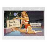 Retro Christmas Pinup Postcard
