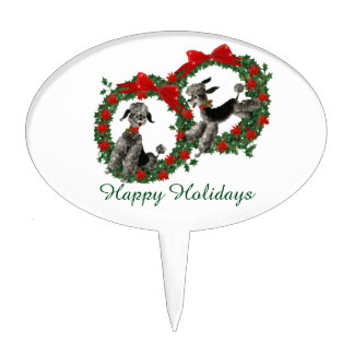 Retro Christmas Poodles in Wreaths Cake Topper