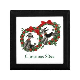 Retro Christmas Poodles in Wreaths Keepsake Boxes