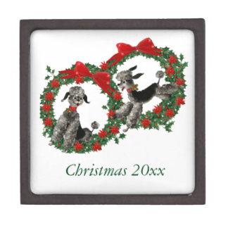 Retro Christmas Poodles in Wreaths Premium Keepsake Box