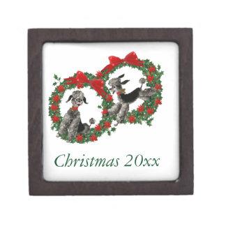 Retro Christmas Poodles in Wreaths Premium Gift Box