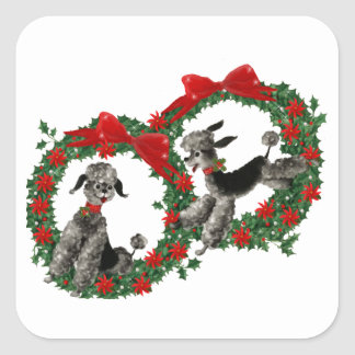 Retro Christmas Poodles in Wreaths Square Sticker