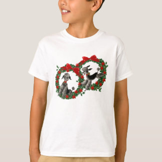 Retro Christmas Poodles in Wreaths T-Shirt
