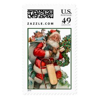 Retro Christmas Postage Stamps