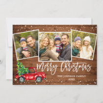 Retro Christmas Red Truck Rustic 3 PHOTO Greeting Holiday Card