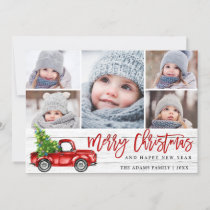 Retro Christmas Red Truck Rustic 5 PHOTO Greeting Holiday Card
