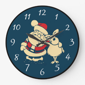 Retro Christmas Santa and his Reindeer Buddy Large Clock