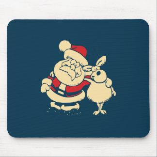 Retro Christmas Santa and his Reindeer Buddy Mouse Pad