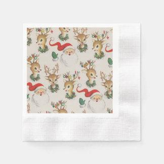 Retro Christmas Santa Claus, Reindeer Napkins
