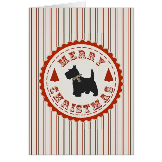 Retro Christmas Scottish Terrier Dog Custom Card
