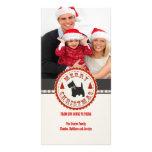 Retro Christmas Scottish Terrier Dog Custom Photo Photo Card