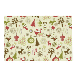 Retro Christmas Sketch Seamless Pattern Placemat