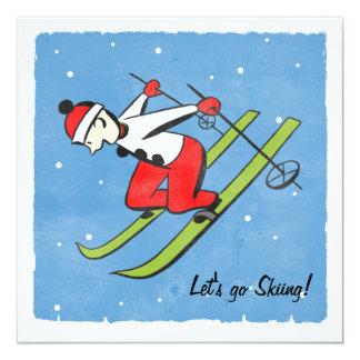 Retro Christmas Skiing Party Card