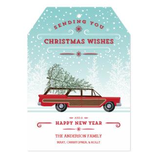Retro Christmas Station Wagon with Tree Card