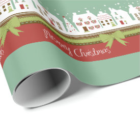 Retro Christmas Town Wrapping Paper