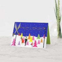 Retro Christmas Tree Farm Christmas Card