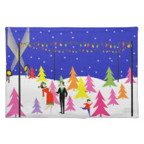 Retro Christmas Tree Farm Cloth Placemat