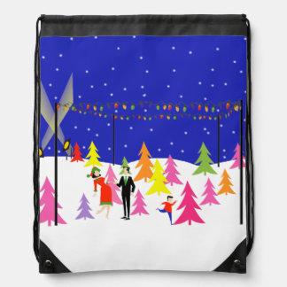 Retro Christmas Tree Farm Drawstring Backpack