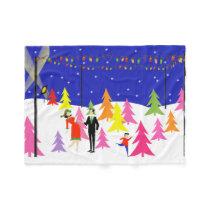 Retro Christmas Tree Farm Fleece Blanket