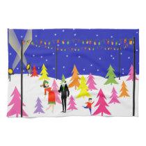 Retro Christmas Tree Farm Kitchen Towel