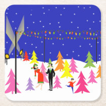 Retro Christmas Tree Farm Paper Coaster