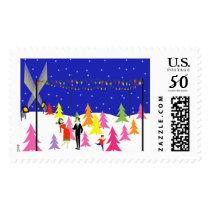 Retro Christmas Tree Farm Postage Stamps