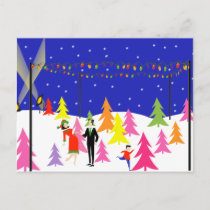 Retro Christmas Tree Farm Postcard